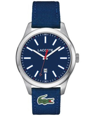 Lacoste Men's Auckland Blue Nylon Canvas Strap Watch 44mm 2010779
