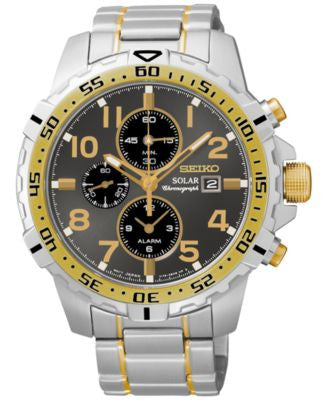 Seiko Men's Solar Alarm Chronograph Two-Tone Stainless Steel Bracelet Watch 45mm SSC304
