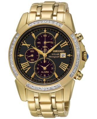Seiko Men's Le Grand Sport Solar Chronograph Diamond (1/10 ct. t.w.) Gold-Tone Stainless Steel Brace