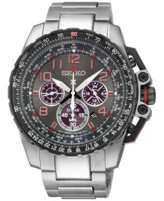 Seiko Men's Prospex Aviator Solar Chronograph Stainless Steel Bracelet Watch 44mm SSC315