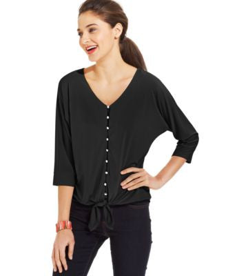 NY Collection Petite Dolman-Sleeve Tie-Front Top