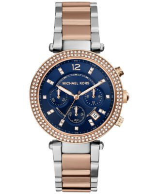 Michael Kors Women's Chronograph Parker Two-Tone Stainless Steel Bracelet Watch 39mm MK6141