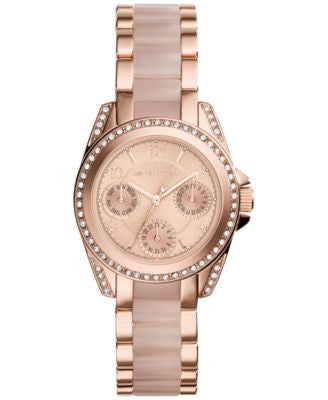 Michael Kors Women's Chronograph Mini Blair Blush and Rose Gold-Tone Stainless Steel Bracelet Watch