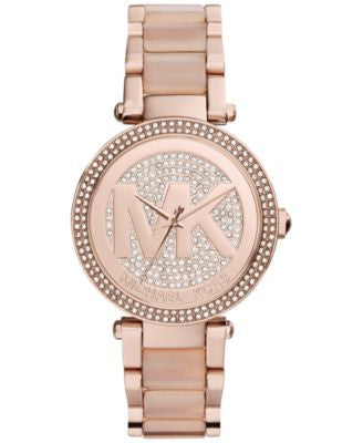 Michael Kors Women's Parker Blush Acetate and Rose Gold-Tone Stainless Steel Bracelet Watch 39mm MK6