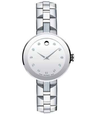 Movado Women's Swiss Sapphire Diamond (1/5 ct. t.w.) Stainless Steel Bracelet Watch 28mm 606815