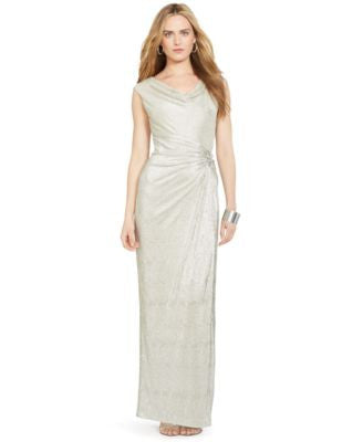 Lauren Ralph Lauren Embellished Metallic Gown