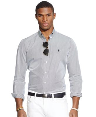 Polo Ralph Lauren Men's Men's Long Sleeve Hairline-Striped Poplin Shirt