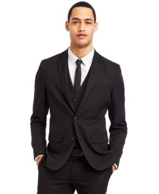 Kenneth Cole Reaction Black Two-Button Blazer
