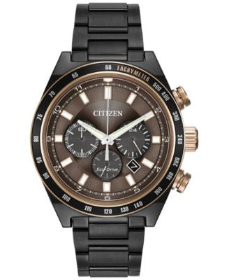 Citizen Men's Chronograph Eco-Drive Grey Ion-Plated Stainless Steel Bracelet Watch 42mm CA4207-53H