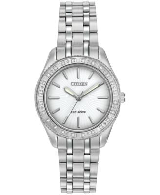Citizen Women's Eco-Drive Diamond Accent Stainless Steel Bracelet Watch 29mm EM0240-56A