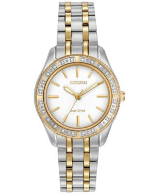 Citizen Women's Eco-Drive Diamond Accent Two-Tone Stainless Steel Bracelet Watch 29mm EM0244-55A