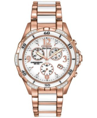 Citizen Women's Chronograph Eco-Drive Diamond Accent White Ceramic and Rose Gold-Tone Stainless Stee