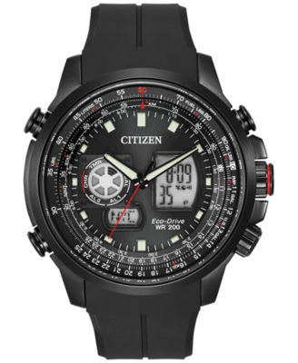 Citizen Men's Analog-Digital Chronograph Eco-Drive Promaster Air Black Polyurethane Watch 47mm JZ106