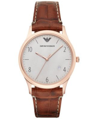 Emporio Armani Men's Cognac Croc-Embossed Leather Strap Watch 41mm AR1866