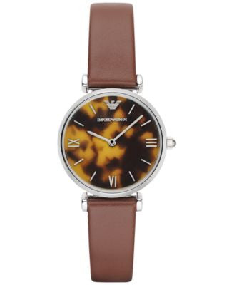 Emporio Armani Women's Brown Leather Strap Watch 32mm AR1873