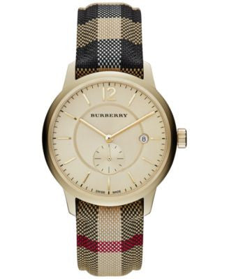 Burberry Unisex Swiss Honey Check Fabric Strap Watch 40mm BU10001