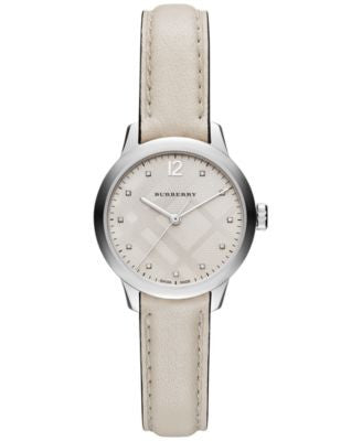 Burberry Women's Swiss Diamond Accent White Leather Strap Watch 32mm BU10105