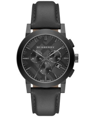 Burberry Men's Swiss Chronograph Dark Gray Leather Strap Watch 42mm BU9364