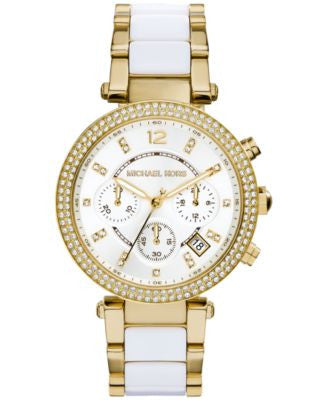 Michael Kors Women's Chronograph Parker White Acetate and Gold-Tone Stainless Steel Bracelet Watch 3