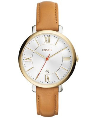 Fossil Women's Jacqueline Tan Leather Strap Watch 36mm ES3737