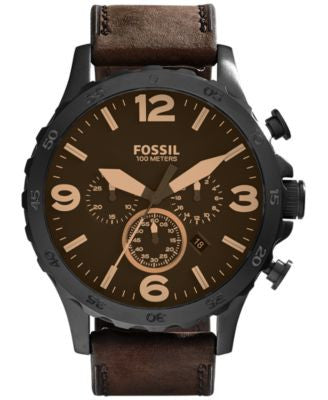 Fossil Men's Chronograph Nate Brown Leather Strap Watch 50mm JR1487
