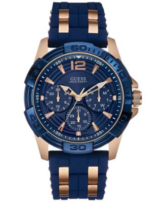 GUESS Men's Rose Gold-Tone and Blue Silicone Strap Watch 43mm U0366G4