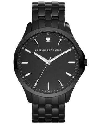 A|X Armani Exchange Men's Diamond Accent Black Ion-Plated Stainless Steel Bracelet Watch 46mm AX2159