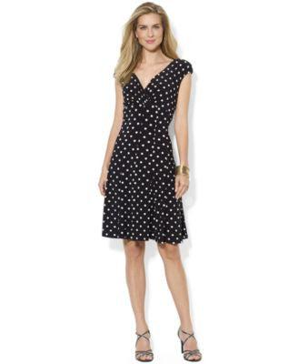 Lauren Ralph Lauren Petite Polka-Dot Cap-Sleeve Dress