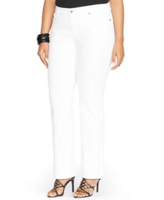 Lauren Ralph Lauren Plus Size Super-Stretch Jeans, White-Wash