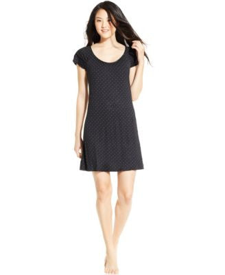 Alfani Flutter Sleeve Pindot Short Nightgown