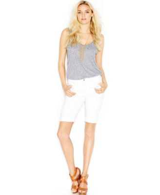 7 For All Mankind Rolled Bermuda Shorts, Clean White Wash