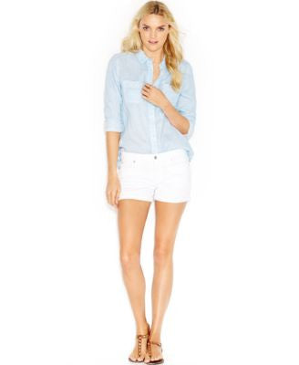 7 For All Mankind Roll-Up Short Shorts, Clean White Wash