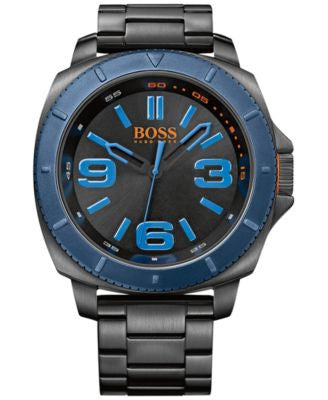 BOSS Orange Men's Sao Paulo Black Ion-Plated Stainless Steel Bracelet Watch 50mm 1513160