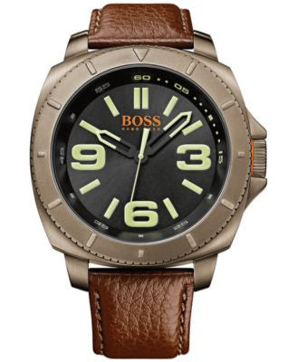 BOSS Orange Men's Sao Paulo Brown Leather Strap Watch 50mm 1513164