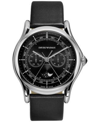 Emporio Armani Men's Swiss Moon Phase Black Leather Strap Watch 44mm ARS4200