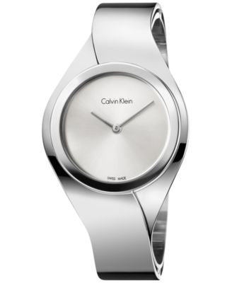 Calvin Klein Women's Swiss Senses Stainless Steel Bangle Bracelet Watch 43mm K5N2M126