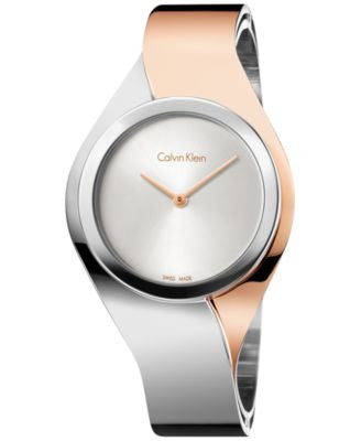 Calvin Klein Women's Swiss Senses Two-Tone Stainless Steel Bangle Bracelet Watch 27mm K5N2M1Z6