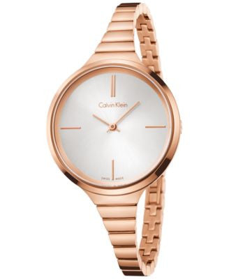 Calvin Klein Women's Swiss Lively Rose Gold-Tone PVD Stainless Steel Bracelet Watch 34mm K4U23626