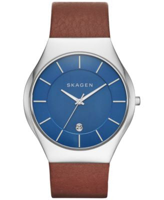 Skagen Men's Grenen Brown Leather Strap Watch 41mm SKW6160