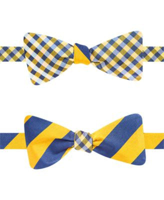 Countess Mara Rugby & Gingham Reversible Self-Tie Bow Tie