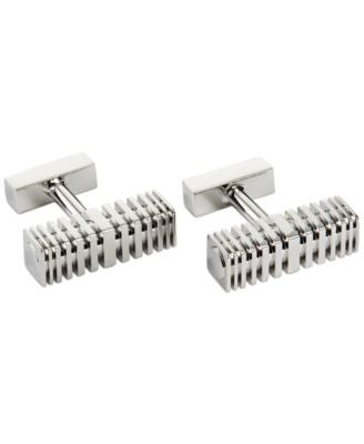 Kenneth Cole New York Polished Phodium Square Barrel with Hallowed Grooves Cufflinks