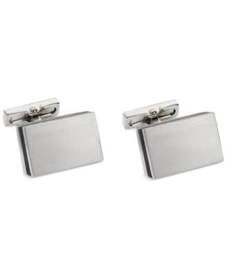 Kenneth Cole New York Brushed Rhodium Rectangle with Matte Blue Resin Center Cufflinks