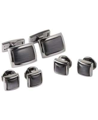 Ryan Seacrest Black with Grey Cateye Dress Cufflinks Set