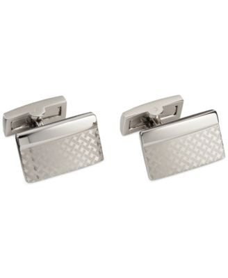 Ryan Seacrest Distinction Silver Basketweave Rectangle Cufflinks