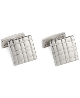 Ryan Seacrest Distinction Square Silver Plaid Cufflinks