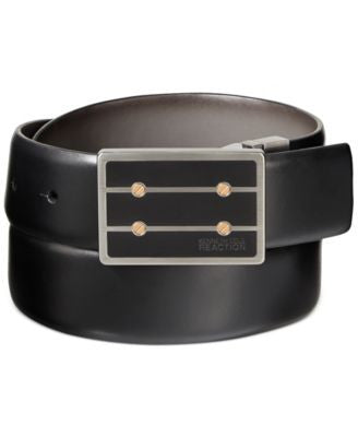Kenneth Cole Reaction Matte Black Plaque Reversible Belt