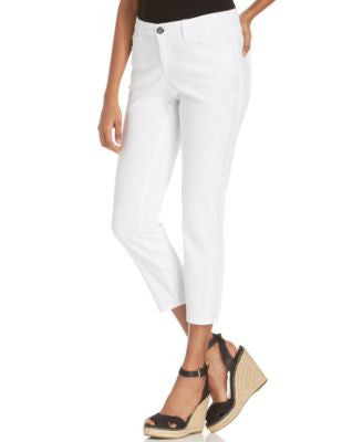 Style&co. Petite Curvy-Fit Embellished Capri Jeans, Bright White Wash
