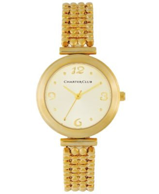 Charter Club Women's Gold-Tone Bubble Link Bracelet Watch 30mm 13589