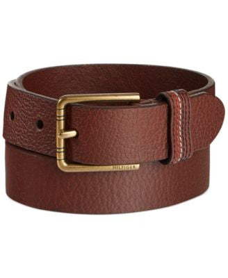 Tommy Hilfiger Stitched-Loop Brown Belt