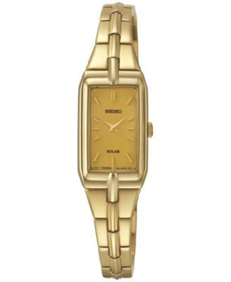 Seiko Women's Solar Gold-Tone Stainless Steel Bracelet Watch 15mm SUP276